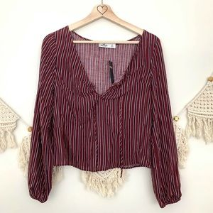 NWT Hollister Red & Blue Striped Cropped Blouse